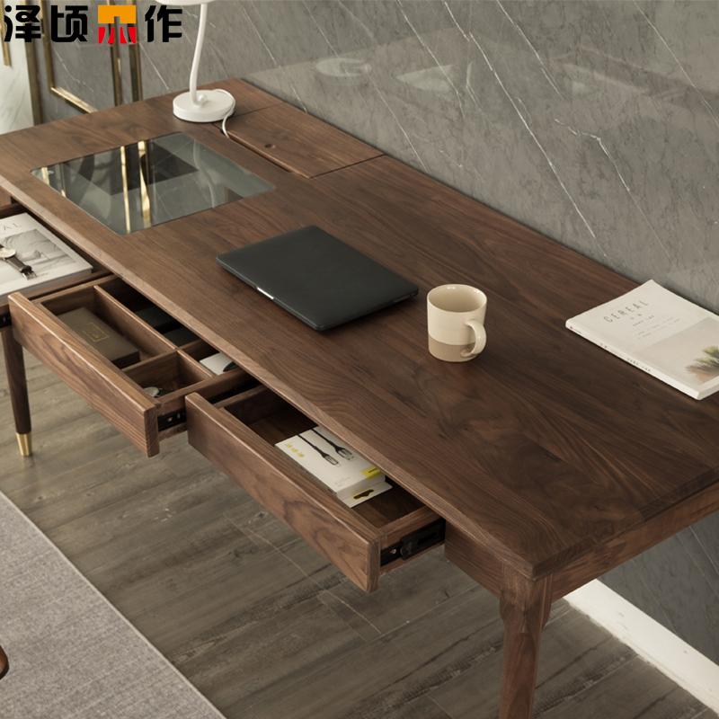 北米の新型の黒い胡桃の木の机と日本式の简约な书斎の寝室のコンピュータの机は軽くて豪华な家庭用の新しい中国式を使います。