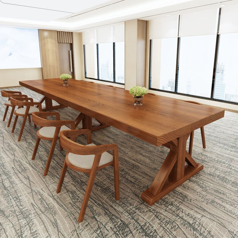 Solid wood conference table chair combination desk simple modern workbench training table long table American negotiation table