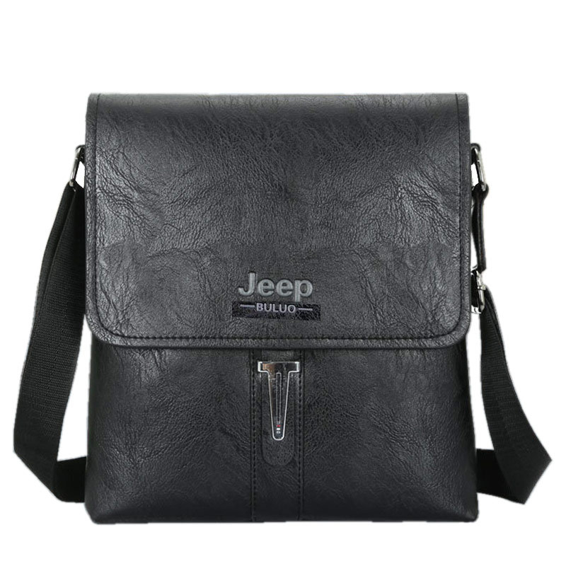 Mens one shoulder straddle bag youth vertical square business bag leisure briefcase Jeep bag cover PU leather bag fashion