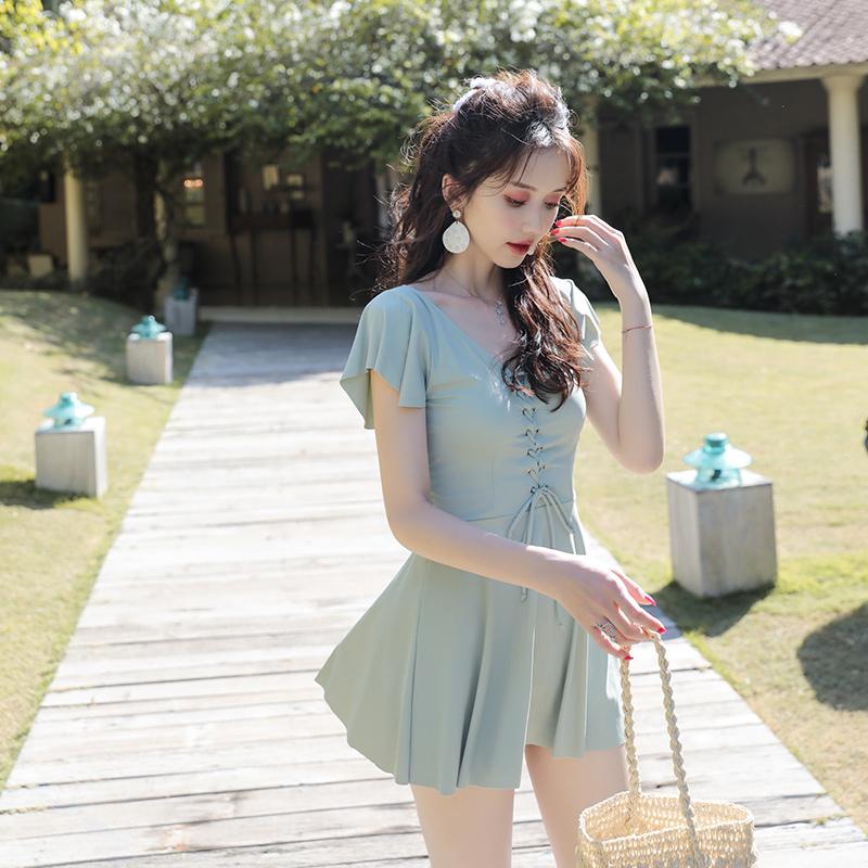 泳衣女仙女范遮肚显瘦韩国ins风保守网红学生连体小清新温泉泳装