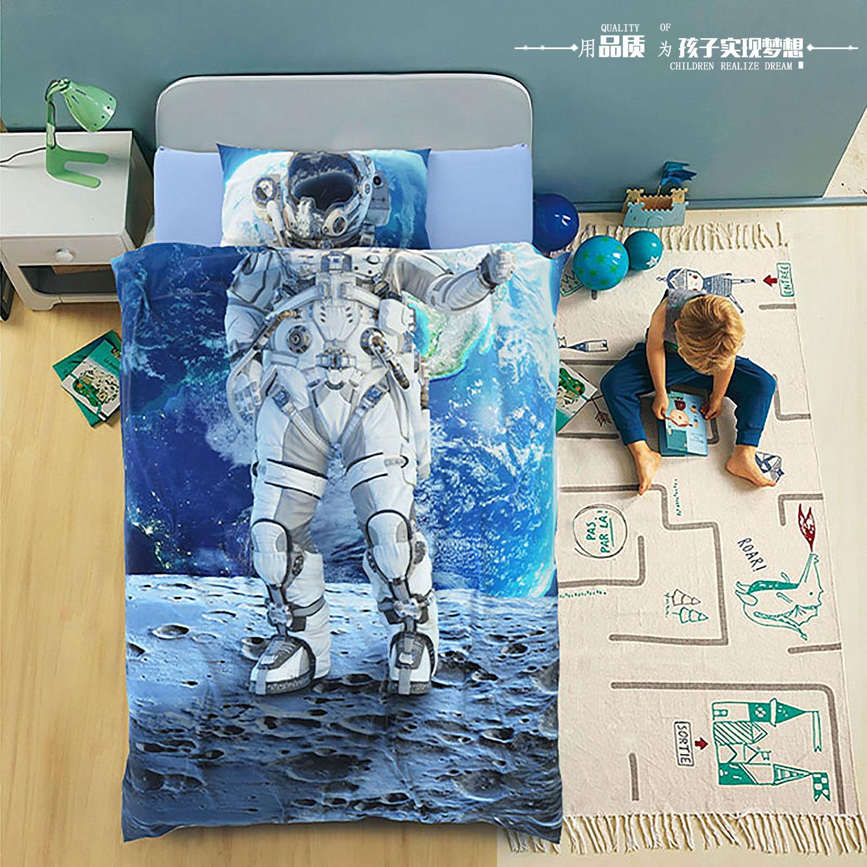 宇航员儿童床品四件套全棉纯棉春夏季简约欧式男孩床上用品三件套