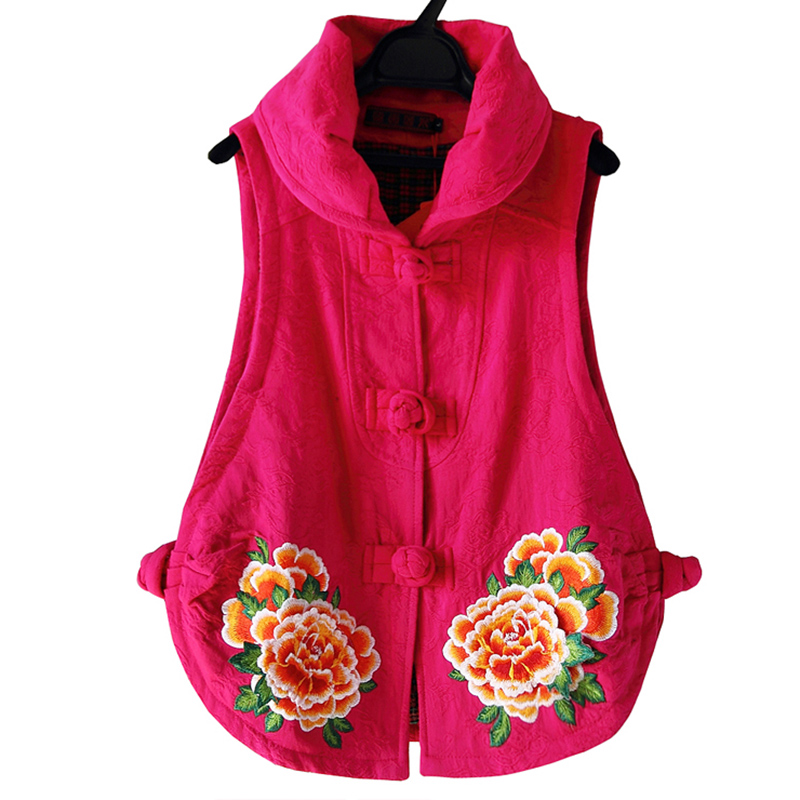 Yunnan embroidered Chinese waistcoat womens spring and autumn 2019 cotton hemp short coat national style disc button retro western style vest