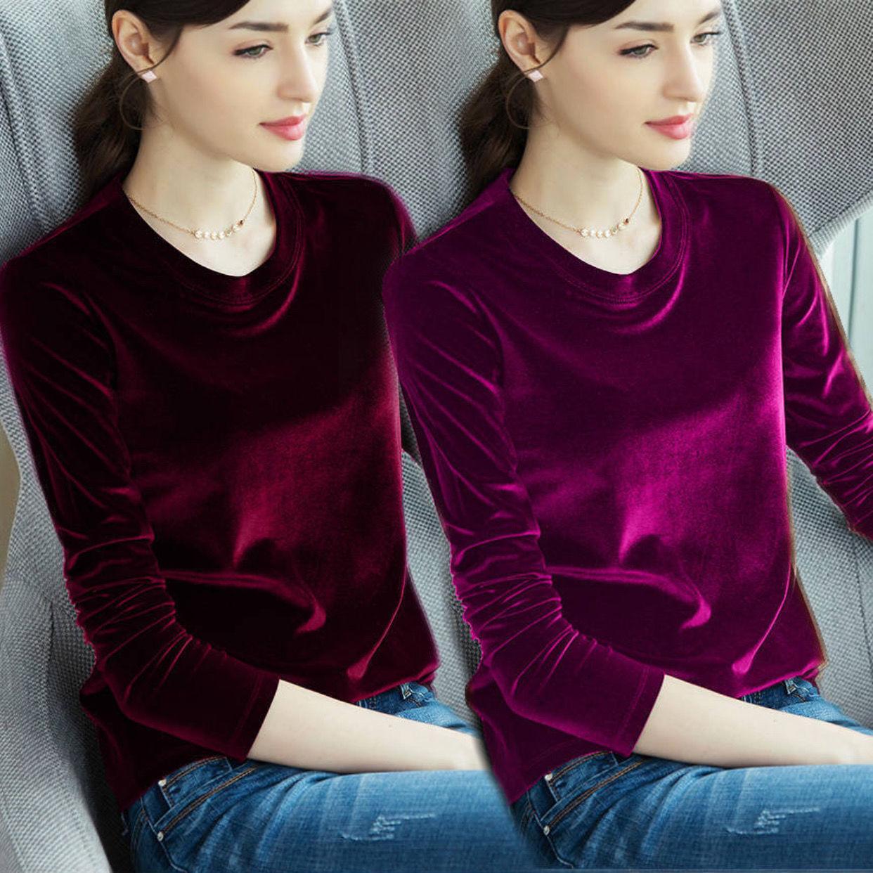 ファッショントレンドTシャツ女性長袖2020新型秋冬保温ボトムス大サイズ女装純色トップス