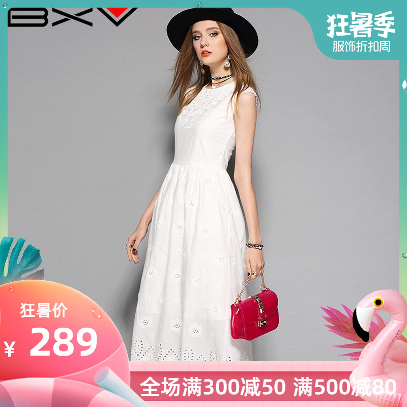 夏季新款2019气质镂空连衣裙女中长款修身显瘦白色无袖纯棉长裙仙