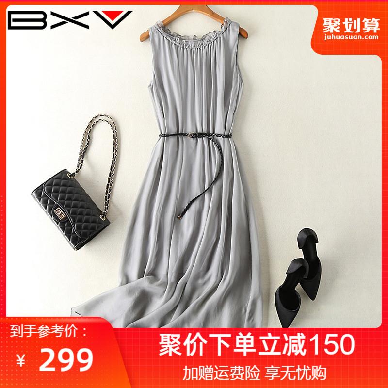 真丝连衣裙女爆款2021夏季新款无袖灰色裙子桑蚕丝气质显瘦长裙子