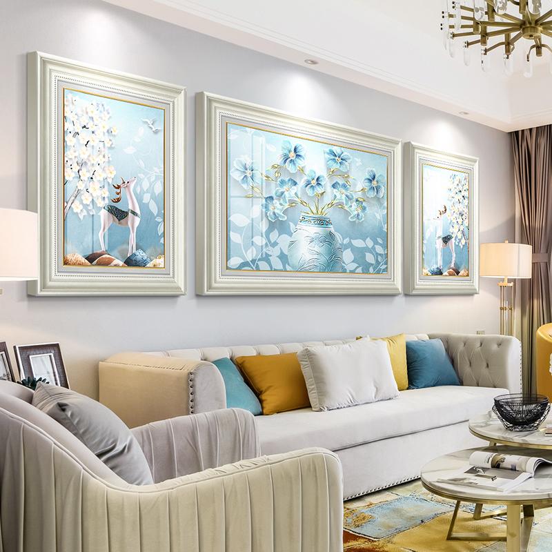 欧式轻奢大气客厅沙发背景墙壁画质量好不好