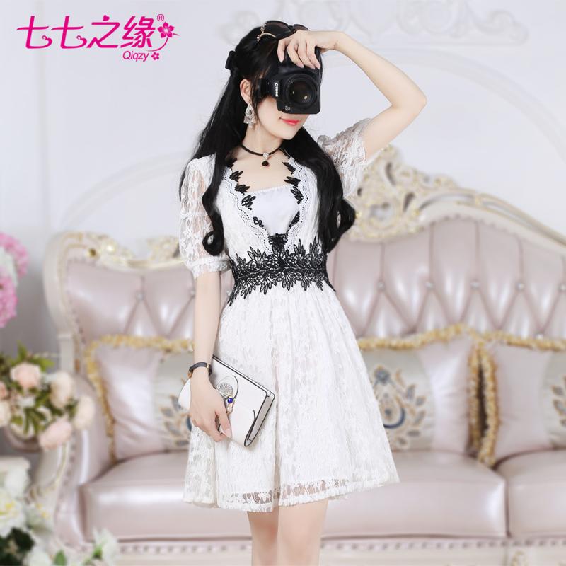 七七之缘2018夏季新款女装韩版 白色蕾丝拼接黑蕾丝淑女连衣裙