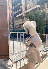 小雨姐姐2020年冬季新款韩版狐狸毛领连帽系带双面呢羊绒大衣女