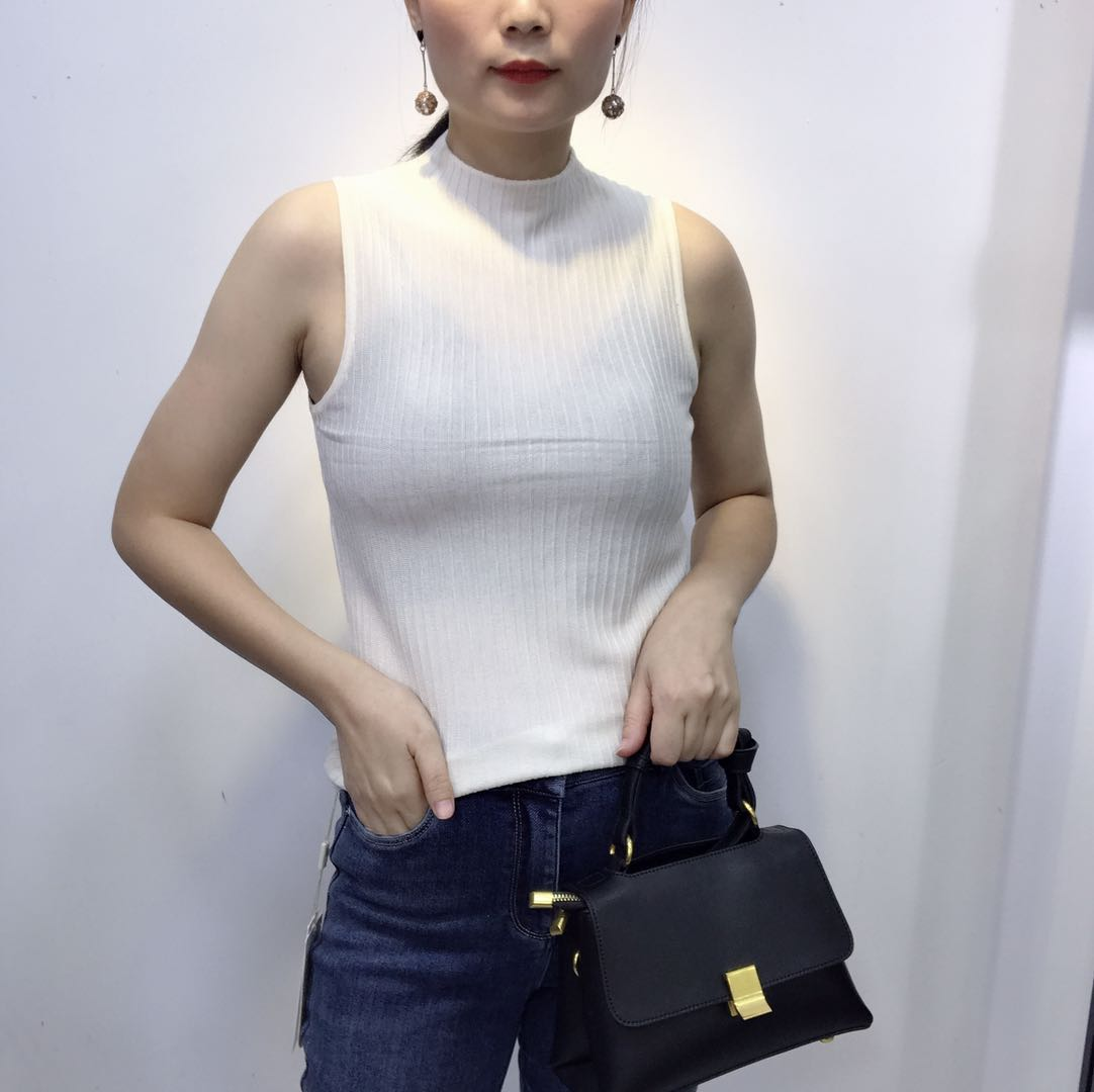 Womens thin half high collar wool knitted tight fitting short shirt with new slim sleeveless pit top in autumn 2020