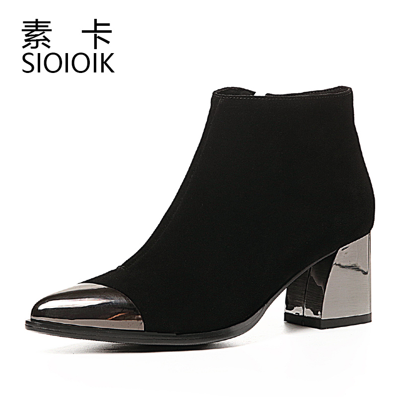 Short boots, pointed women's boots, all kinds of thick heels, high heels, 2019 new autumn and winter plush, winter bare boots, Martin women's shoes