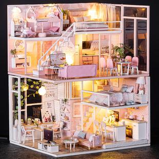 儿童玩具小女孩公主生日礼物手工迷你厨房房子娃娃屋9 12岁