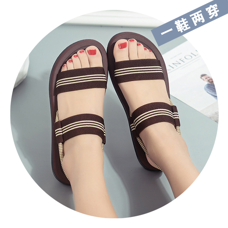Summer 2020 new versatile sandals female Korean student flat bottom simple lady fashion rain shoes lovers beach shoes
