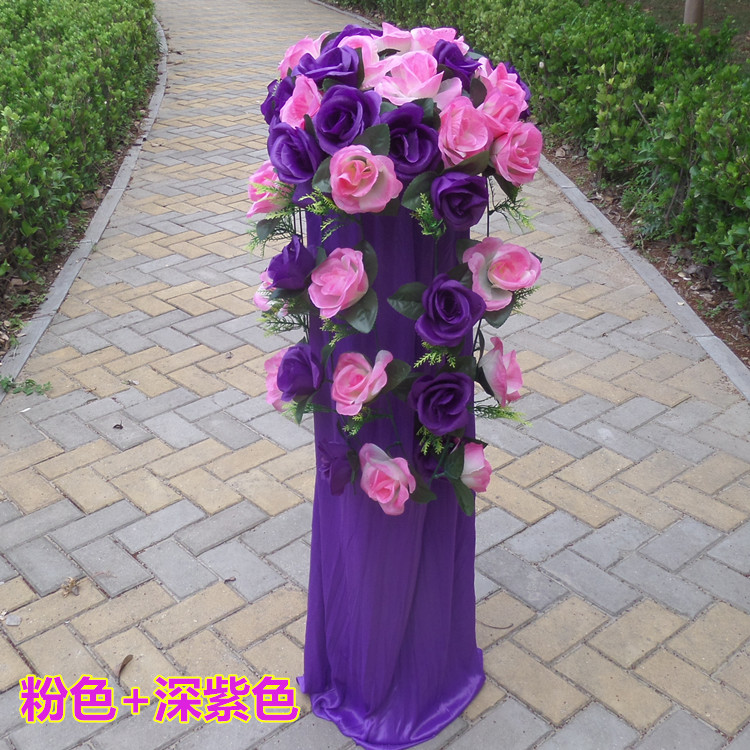 Свадьба привел цветок колонка ведущий дорога корзины выйти замуж церемония декоративный привел набор для открытия промышленность ткань положить привел лифтинг шелк цветок привел