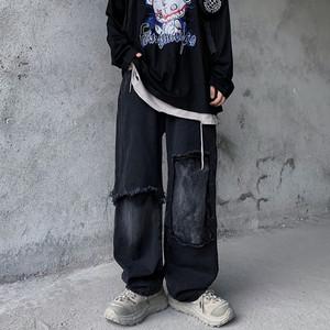 INSstudios 潮流ins街头潮牌嘻哈暗黑系做旧贴布水洗牛仔长裤男女