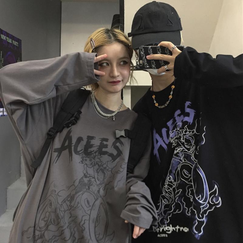 INSstudios 潮流ins韩版复古手绘动漫卡通印花长袖打底衫T恤男