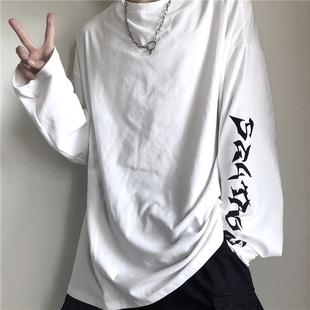 INSstudios.2020韓國ins復古嘻哈手袖字母印花寬鬆長袖T恤 男女潮