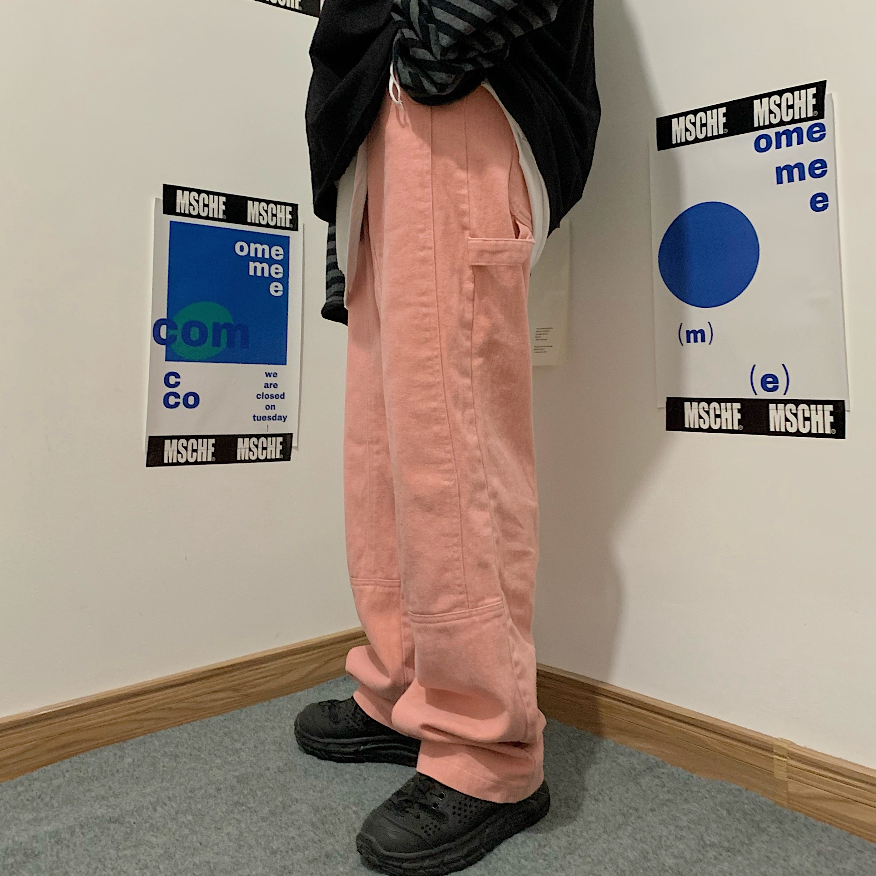 INSstudios 潮流ins日系复古水洗磨毛粉色牛仔裤直筒休闲长裤男女