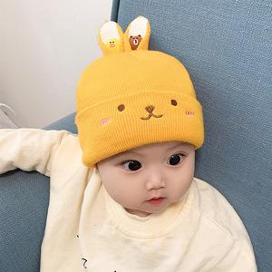 宝宝秋冬季婴儿帽0-6-12个毛线帽