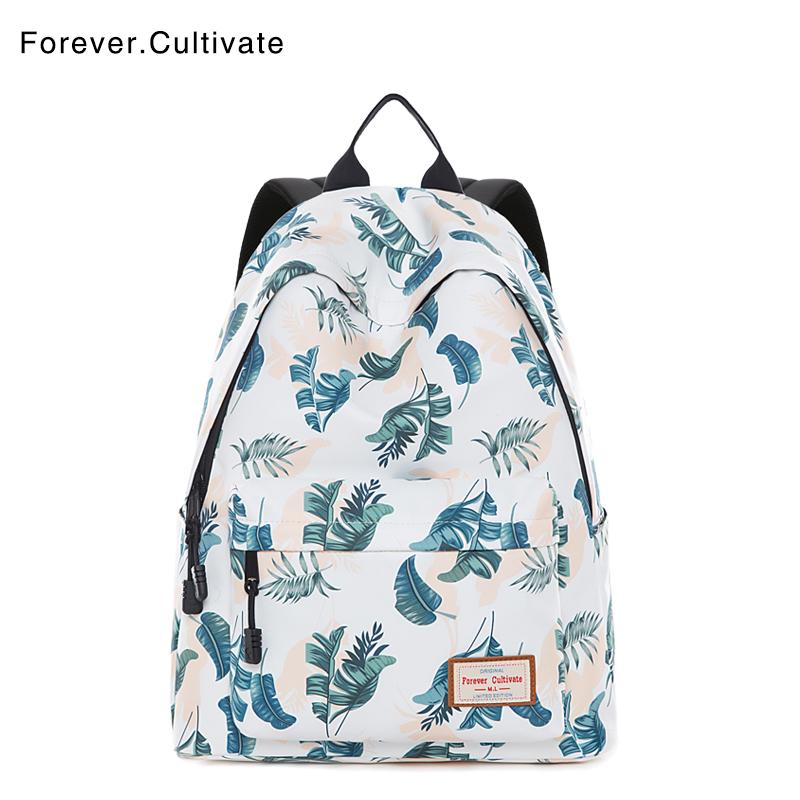 Forever cultivate印花双肩包女韩版学院风小清新书包中学生背包