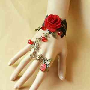 网红同款手链戒指一体链女红色玫瑰花礼服首饰配饰手部装饰新娘结