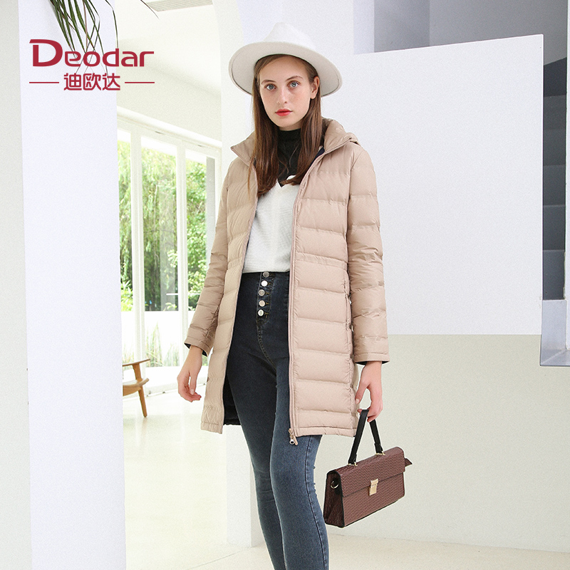 Dioda autumn and winter new mother down jacket, bread jacket, womens medium long warm hooded collar slim fit coat
