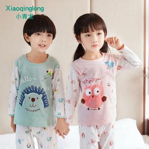 小青龙幼儿童睡衣夏季男童女童纯棉薄款空调服套装宝宝小孩中大童