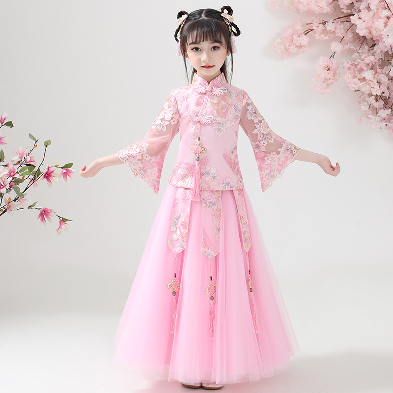 Girls' Hanfu summer dress Chinese style children's Tang suit summer dress cheongsam 12-year-old girls' ancient costume super immortal