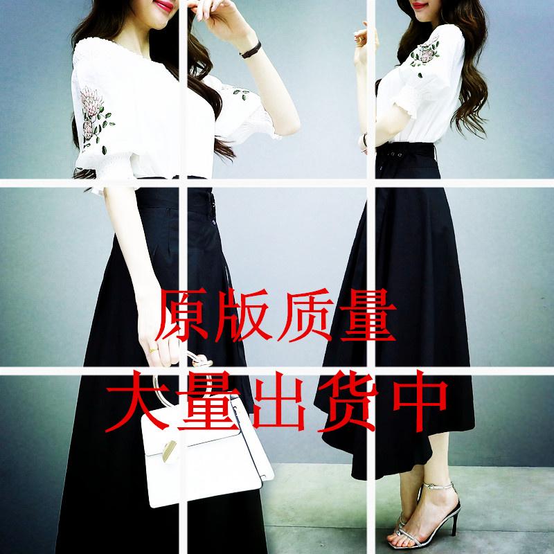 连衣裙2019新款夏季过膝很仙的法国小众两件套刺绣A字裙套装裙女