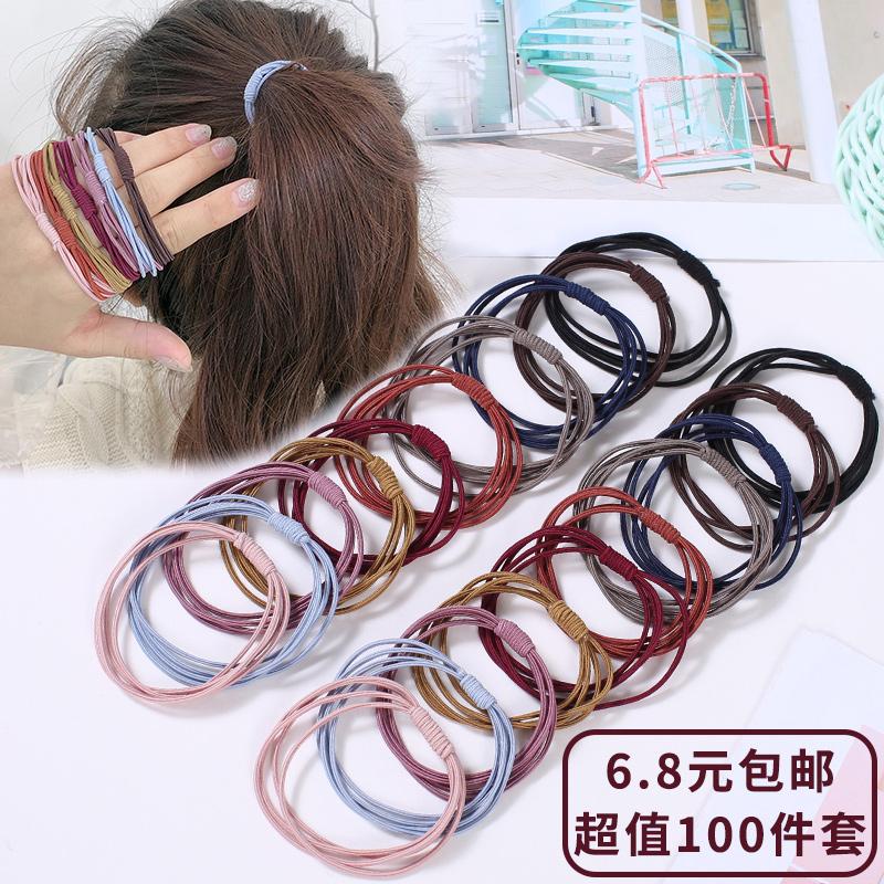 韩国儿童橡皮筋发圈不伤发黑色简约高弹力网红扎头发小头绳发饰女