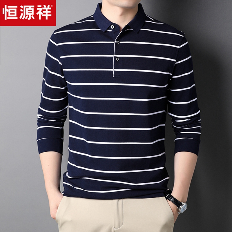 Hengyuanxiang mens Polo 2021 autumn winter stripe long sleeve T-shirt middle-aged dad autumn bottomed top