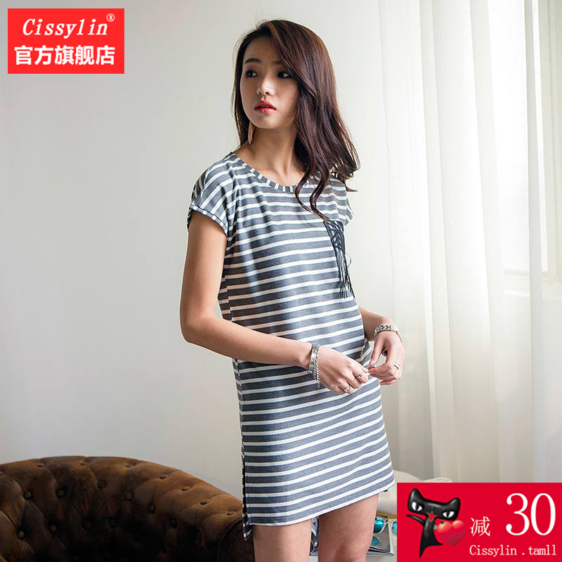 Cissylin 2019 summer Korean slim dress simple stripe mid skirt commuter crew neck slim short sleeve skirt