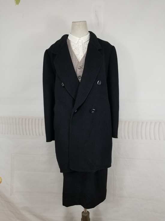 Japanese womens winter double faced cashmere blended medium long double breasted overcoat