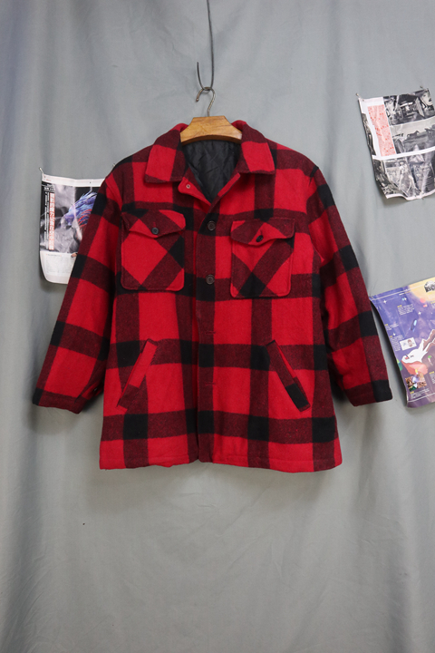 Japanese mens cotton British Wool Plaid casual work jacket hunting coat