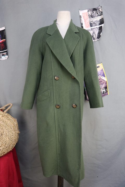 Japanese womens double face cashmere blended leisure Plaid long overcoat