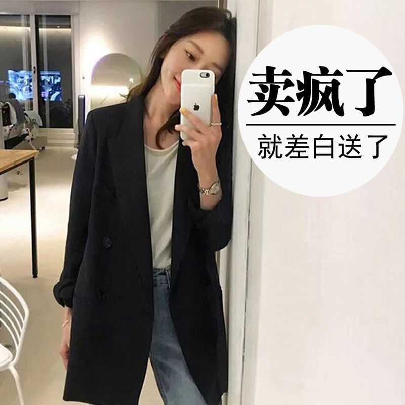 Black suit jacket women's spring 2021 new Korean version of loose net red casual professional fashion small suit jacket