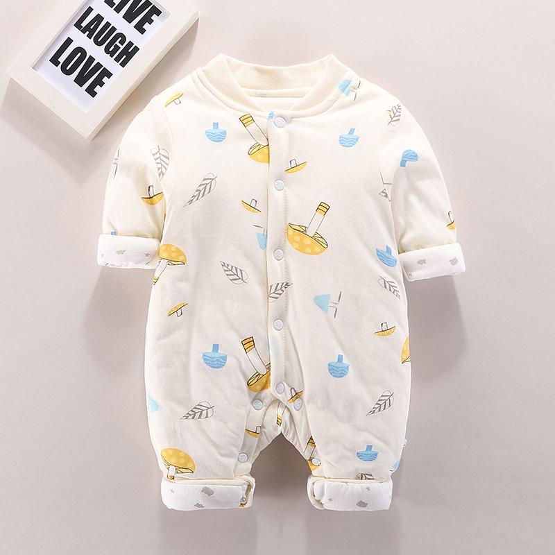 婴儿连体衣秋冬外出套装薄棉衣冬季新生衣服拜年加厚冬季宝宝哈衣图片