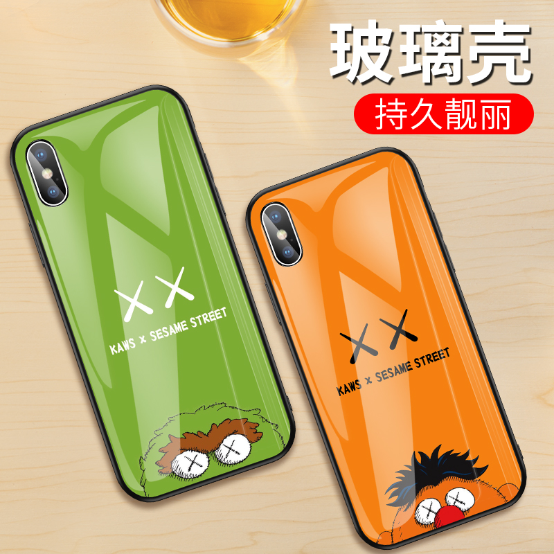 kaws芝麻街手机壳苹果x钢化玻璃iphonex优衣库xs潮男xr女款xsmax