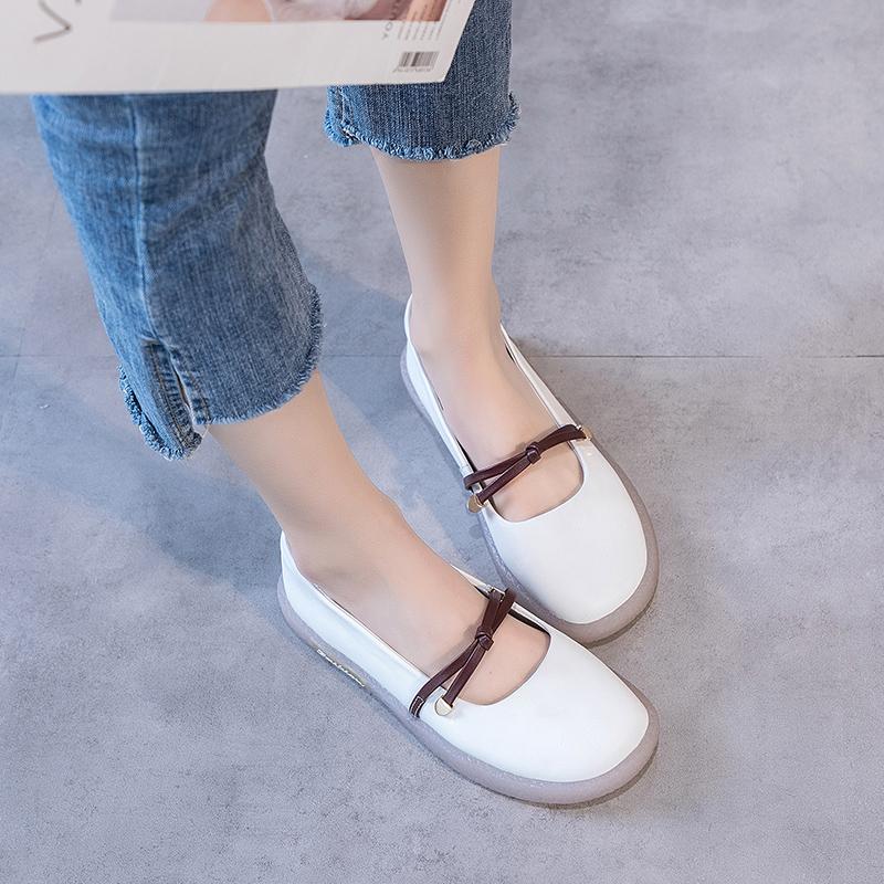 牛皮小白鞋女2020新款真皮浅口平底单鞋百搭日系萝莉风一脚蹬女鞋图片