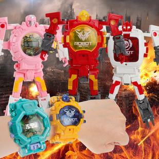 儿童变形电子手表金刚机器人卡通投影玩具幼儿园小孩男孩女童宝宝