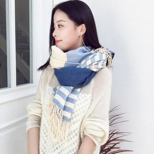 欧蒂姿 围巾女冬季韩版学生条纹披肩两用春秋长款加厚仿羊绒围脖