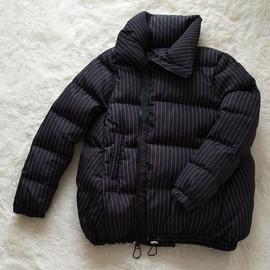 韩版小个子羽绒服女短款条纹面包服a 字斗篷加厚白鸭绒时尚外套潮