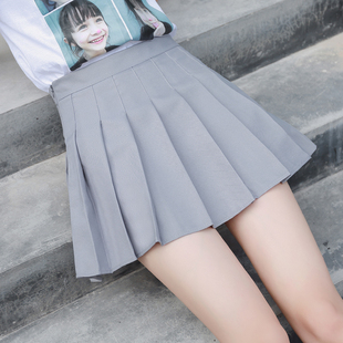 2019新款 短裙女夏高腰A字裙学生防走光格子半身裙 百褶裙秋冬大码