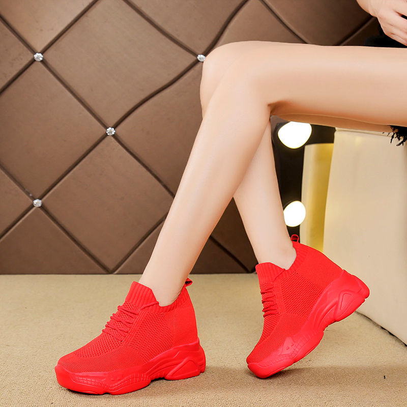8cm womens shoes with 8cm high top inside, thick sole flying woven breathable sports shoes spring and summer 2020 new red mesh shoes for women