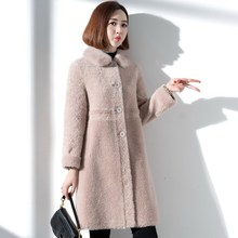 2019 winter new granular sheep sheared fur coat women's medium long lamb cashmere Haining fur coat one