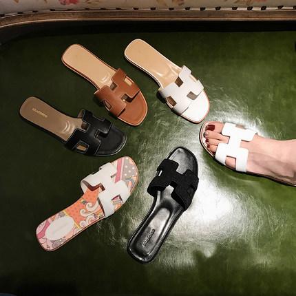 葡萄妈studiolee2019夏季新款真皮h拖鞋女外穿时尚平底沙滩一字拖