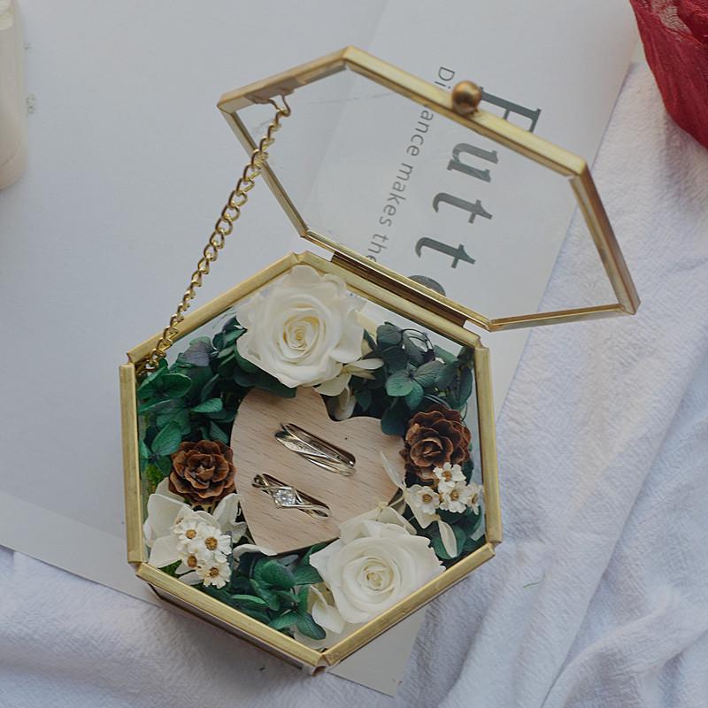 永生花婚礼戒枕戒枕 婚礼戒指盒 戒指交换 婚礼仪式对戒