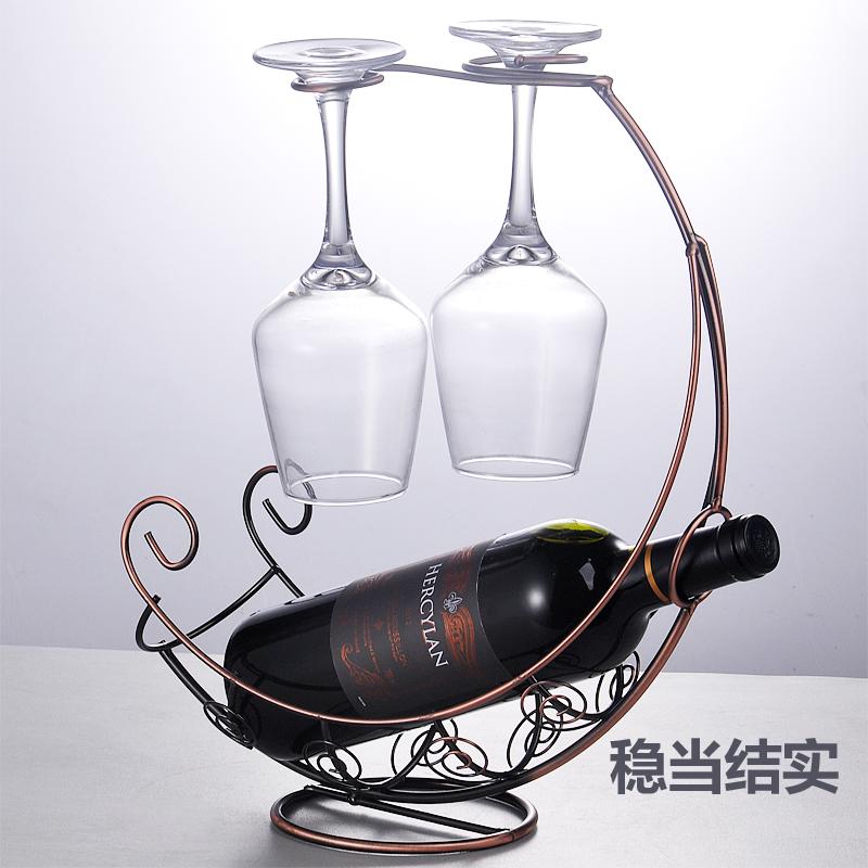 歐式不繡鋼紅酒杯架客廳 擺件酒瓶架高腳杯架葡萄酒架展示架