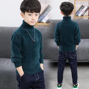 童装男童毛衣加厚中大儿童水貂绒高领套头秋冬装打底2020新款洋气