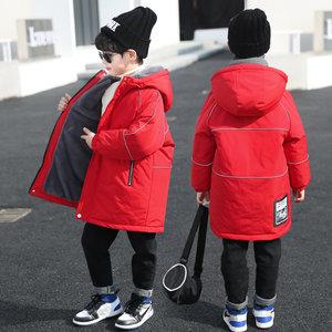 男童羽绒棉衣棉服袄加绒过拜新年中长款冬装2020新中大儿童红色潮