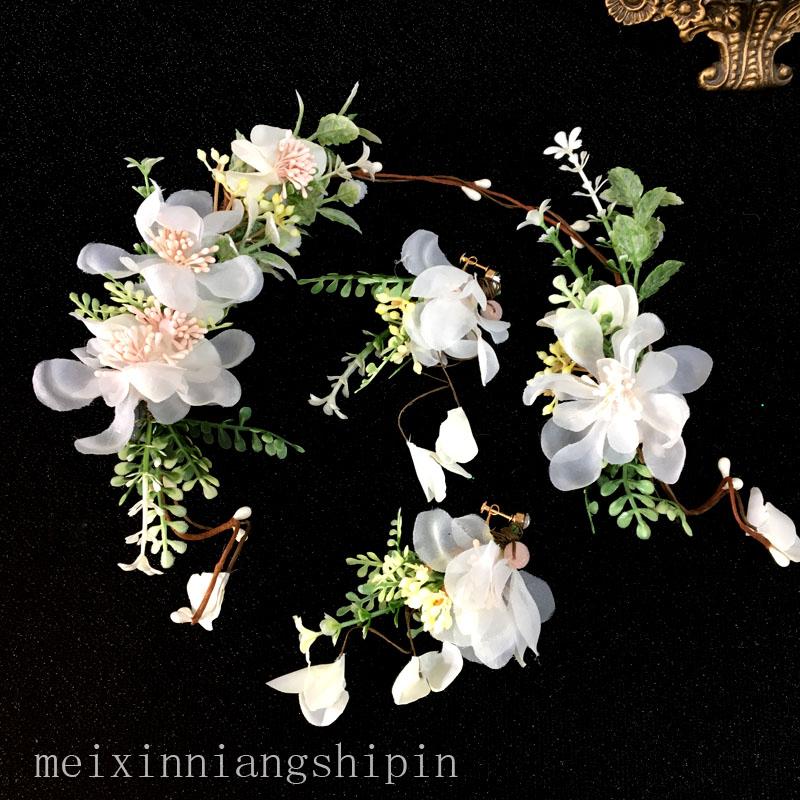 新娘头饰2021新款森系婚纱配饰结婚仙美发饰套装韩式公主造型花朵